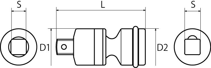 インパクト用ユニバーサルジョイント(差込角9.5mm)(差込角12.7mm)(差込角19.0mm)(差込角25.4mm)の図面