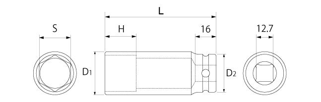 超ロングソケット(差込角12.7mm)の図面