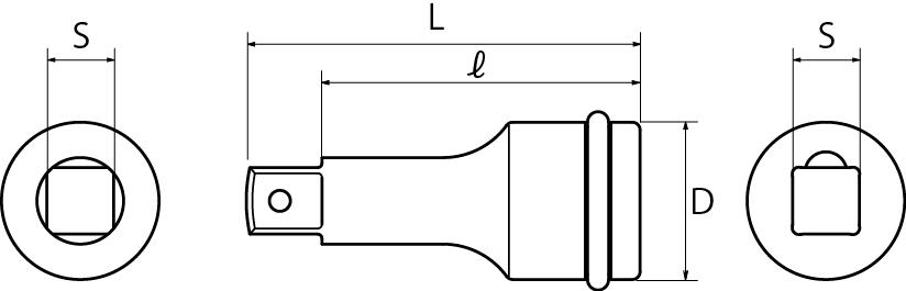 インパクト用エクステンションバー(差込角9.5mm)(差込角12.7mm)(差込角19.0mm)(差込角25.4mm)の図面