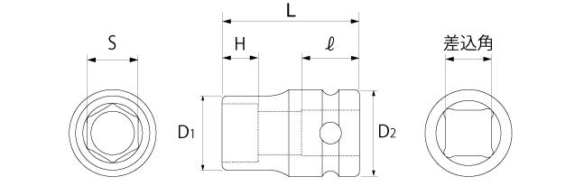 インパクト用ソケット(差込角9.5mm)(差込角12.7mm)(差込角19.0mm)(差込角25.4mm)の図面