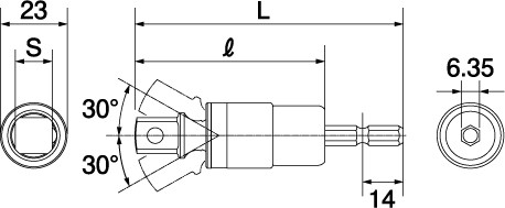 電動ドリル用αユニバーサルソケットアダプターの図面