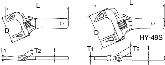 ショートエコワイド(薄型軽量ワイドモンキレンチ)の図面