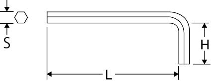 六角棒レンチ スタンダードタイプの図面