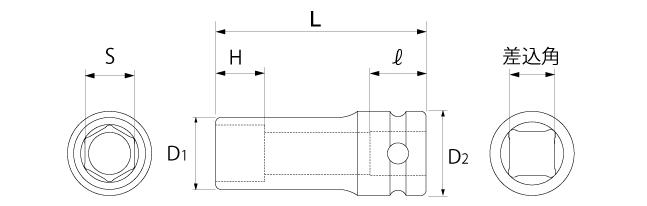 インパクト用ディープソケット(差込角9.5mm)(差込角12.7mm)(差込角19.0mm)(差込角25.4mm)の図面