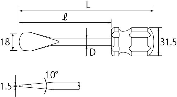 コインドライバー(先端アール付)の図面
