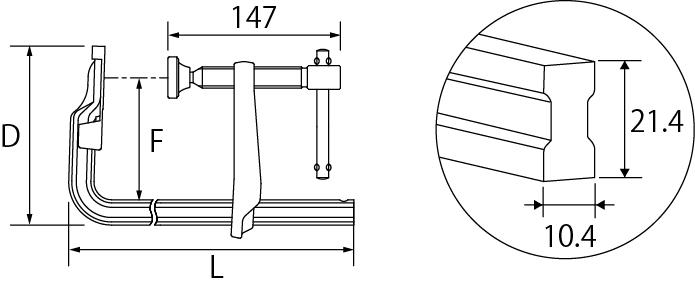 L型クランプ(LB型)の図面