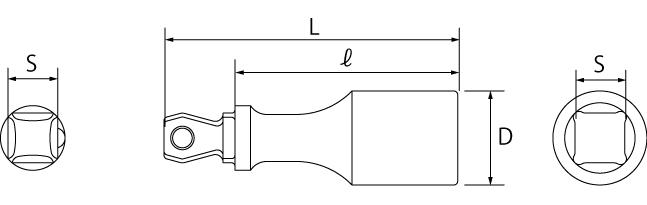 フレックスエクステンションバー(差込角9.5mm)(差込角12.7mm)の図面