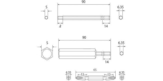 電動ドリル用ヘクスビットセットの図面