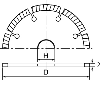 ダイヤモンドホイール セグメントタイプの図面