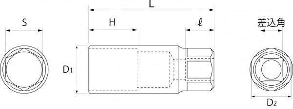 プラグソケット(差込角9.5mm)(差込角12.7mm)の図面