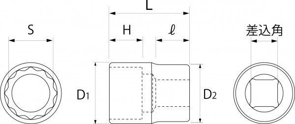ソケットレンチ用ソケット(差込角9.5mm)(差込角12.7mm)(差込角19.0mm)の図面