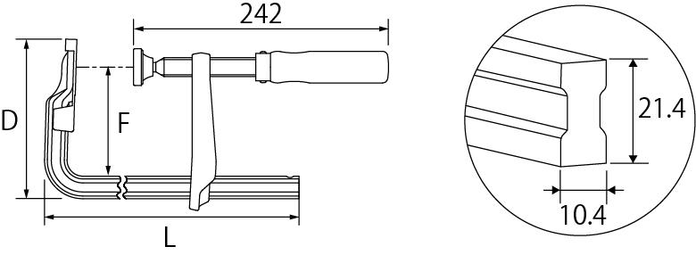 L型クランプ(LA型)の図面