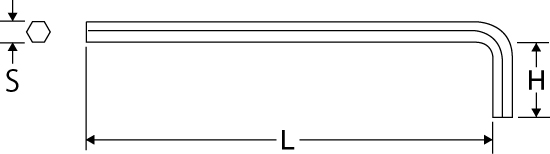 六角棒レンチ ロングタイプの図面