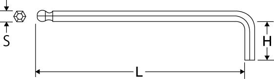 ボールポイントレンチ ロングタイプの図面