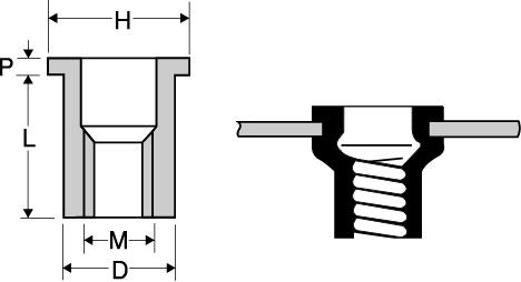 アルミニウム平頭ナットの図面