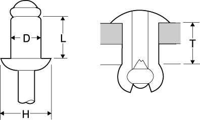 ステンレスフランジ・スチールシャフトリベットの図面