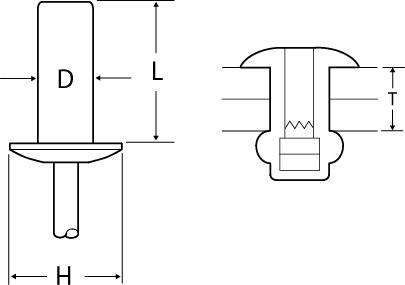 アルミニウムフランジ・スチールシャフトリベットの図面
