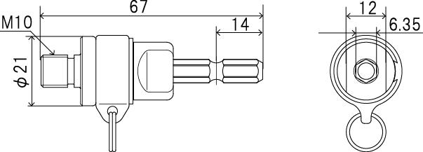 塩ビ管内径カッター用 落下防止アダプター(ストラップ付)の図面