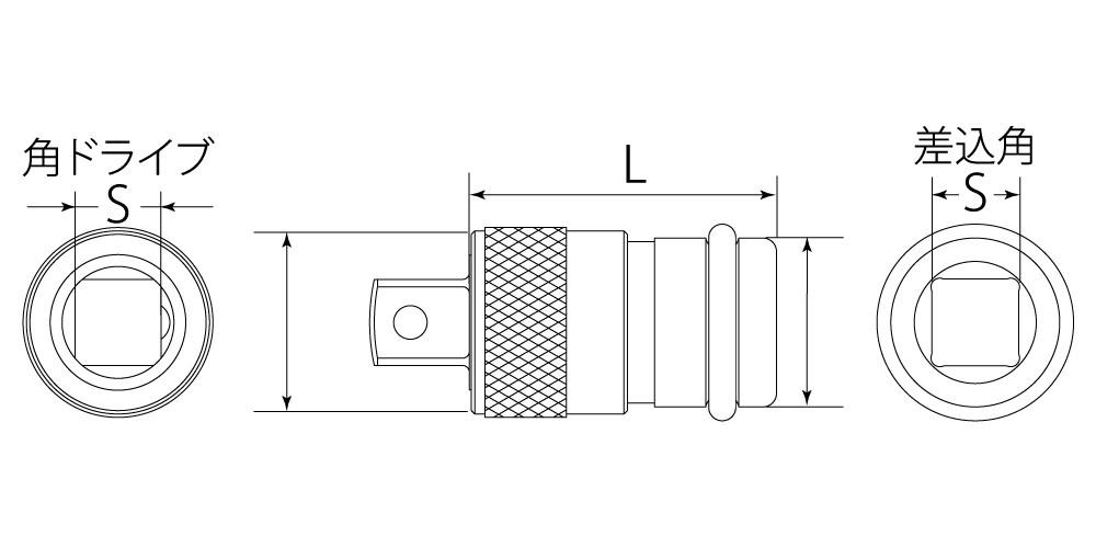 インパクトレンチ用ワンタッチアダプターの図面