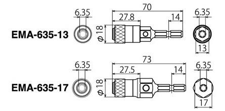 電動ドリル用(インパクト対応) マルチビットアダプターの図面