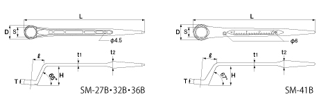 シャーボルト用シノ付きメガネレンチの図面