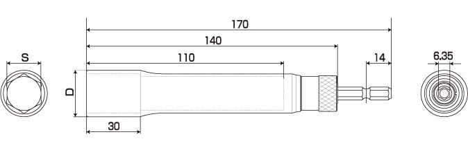 電動ドリル用替軸ソケットロングタイプの図面