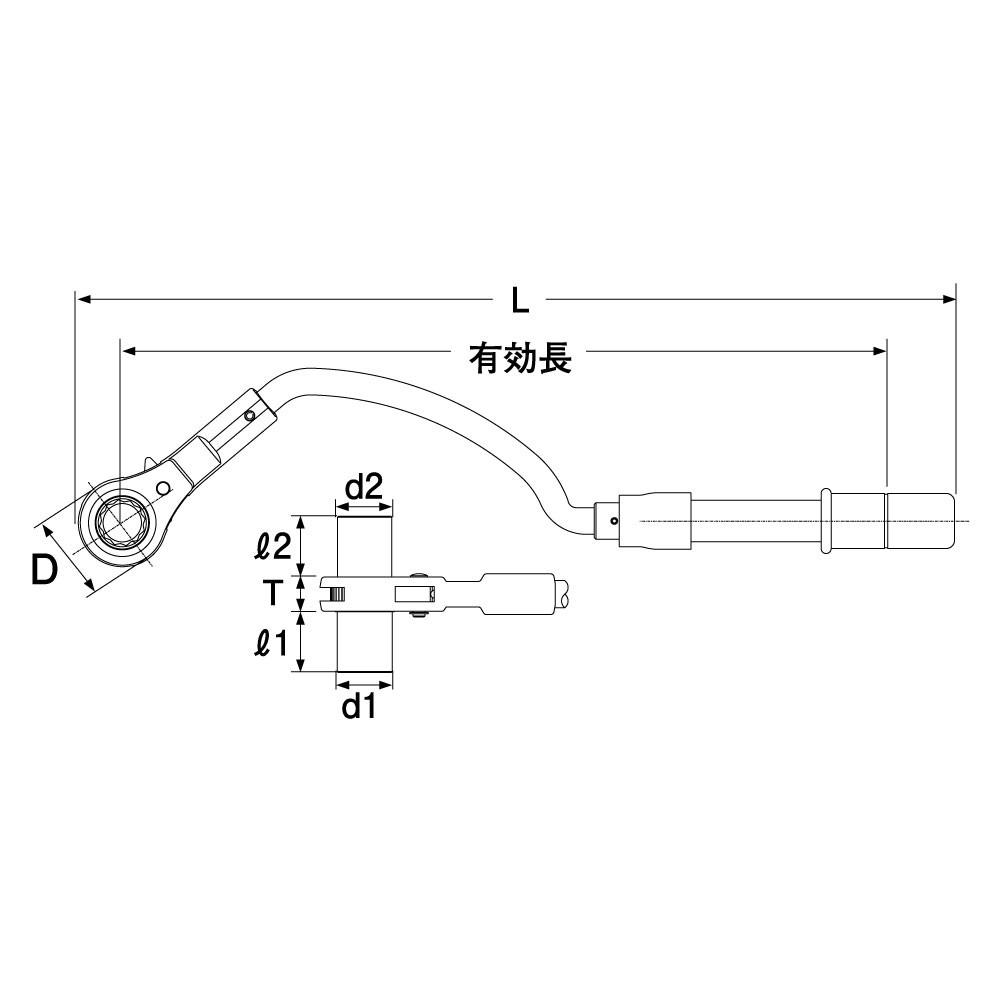 水道本管用弓形トルクレンチの図面