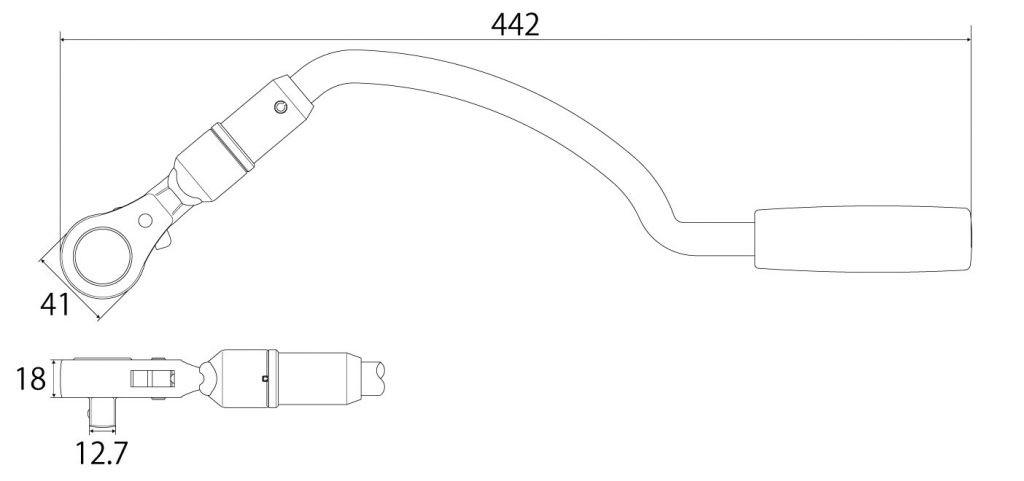弓形ラチェットハンドルの図面