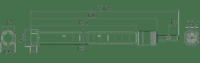 電動ドリル用替軸ソケットスーパーロングタイプの図面
