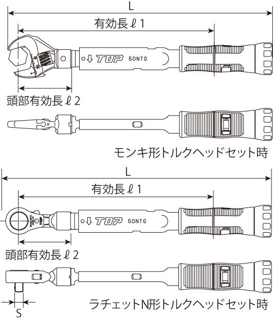 モンキ形/ラチェットN形グリップ付トルクレンチセットの図面