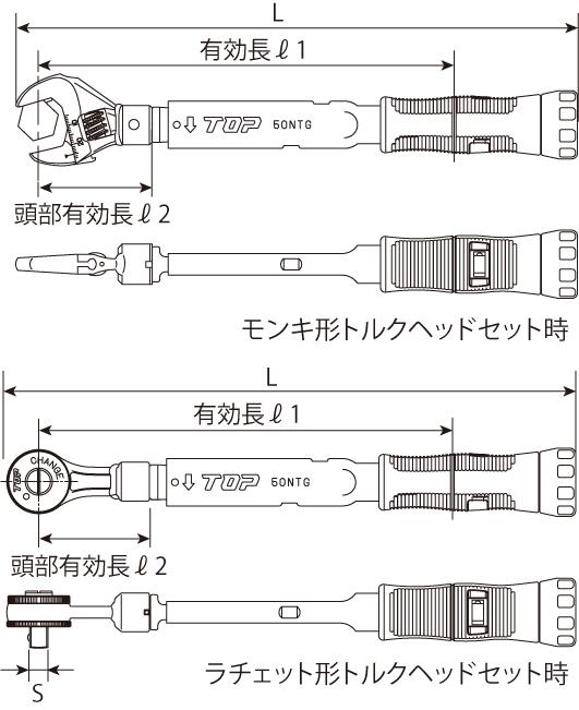モンキ形/ラチェット形グリップ付トルクレンチセットの図面